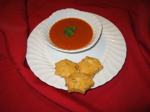 Awesome Tomato Soup with Parmesan-Bacon-n-Tomato Biscuits!